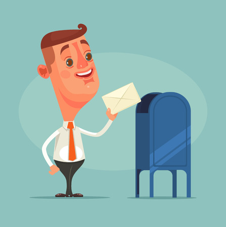 Man office worker character got envelope message. Vector flat cartoon illustration