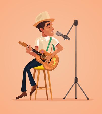 Singer uomo carattere cantare canzone e suonare la chitarra. Illustrazione vettoriale piatto vettoriale