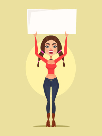 Woman character protest. Vector flat cartoon illustration