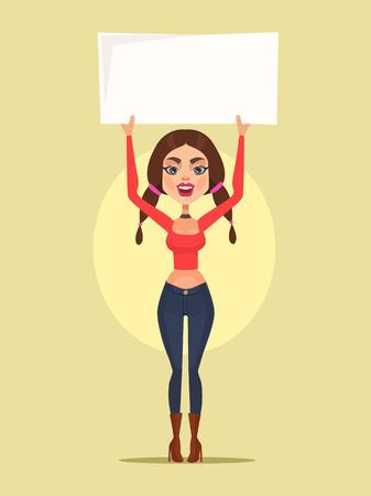 manifest: Woman character protest. Vector flat cartoon illustration