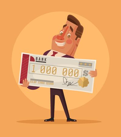 segurar: Feliz o homem sorrindo empresários do trabalhador de escritório personagem ganhar na loteria. Vetor plano de banda desenhada
