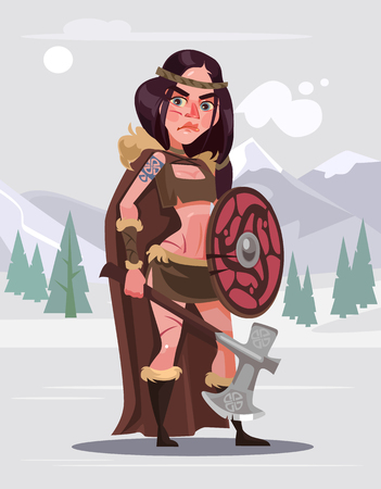Viking woman warrior character with sword and shield. Vector flat cartoon illustration Illustration