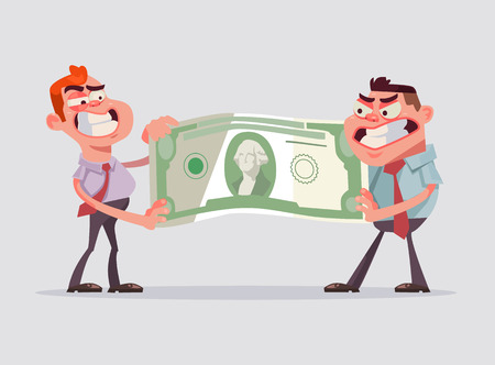 Two men office workers character divide money. Vector flat cartoon illustration