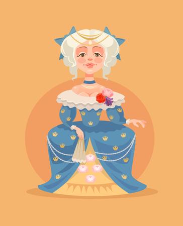Koningin vrouwelijk karakter. Vector platte cartoon illustratie