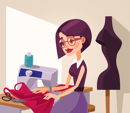 Smiling woman designer character sews clothes. Vector flat cartoon illustration