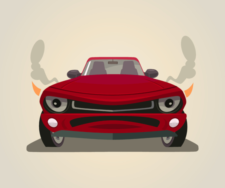 sportcar: Sport red car. Front view. Vector flat cartoon illustration