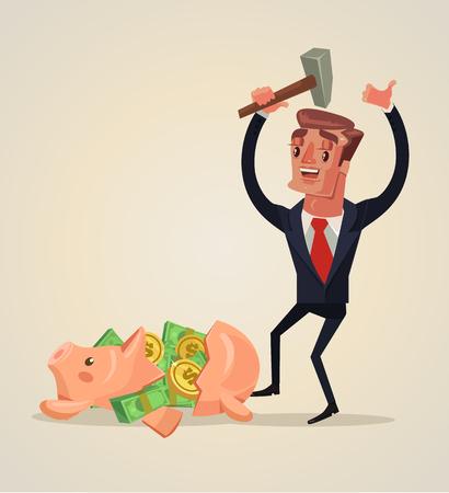 Empresario carácter rompió hucha y tienen un montón de dinero. Vector ilustración de dibujos animados plana
