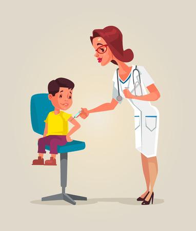 prick: Doctor woman character doing vaccination. Vector flat cartoon illustration