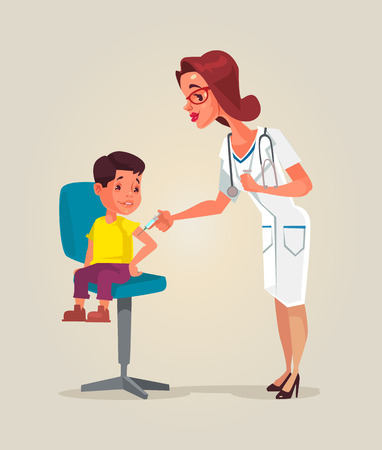 Doctor woman character doing vaccination. Vector flat cartoon illustration