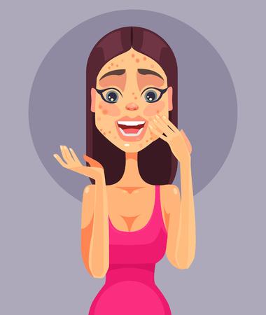 pustule: Sad shock women character have problem skin acne. Vector flat cartoon illustration Illustration