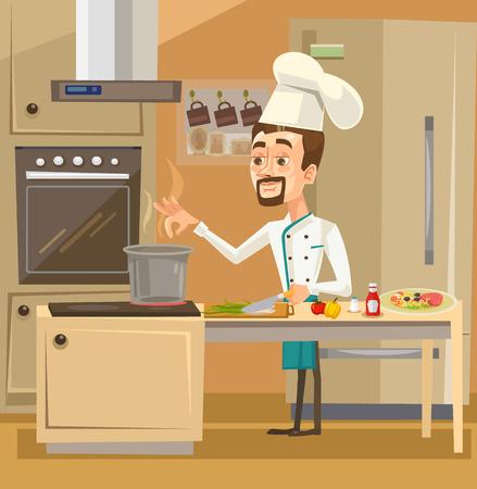 Gelukkig glimlachend chef-kok karakter in de keuken bereiden van maaltijden. Vector platte cartoon illustratie