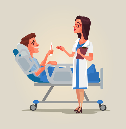 Doctor woman character communicates with patient in ward. Vector flat cartoon illustration