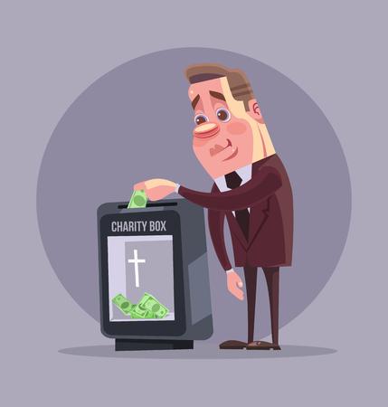 accumulation: Wealthy politician businessman character making donation. Vector flat cartoon illustration