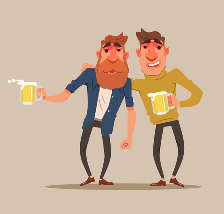 Two drunk friends men characters have fun. Vector flat cartoon illustration