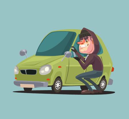 Robber Mann Charakter Steals und Brechen Autotür. Vector flache Karikatur Illustration Standard-Bild - 74639073