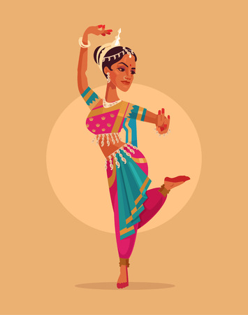 Indian happy woman character dances in traditional costume. Vector flat cartoon illustration