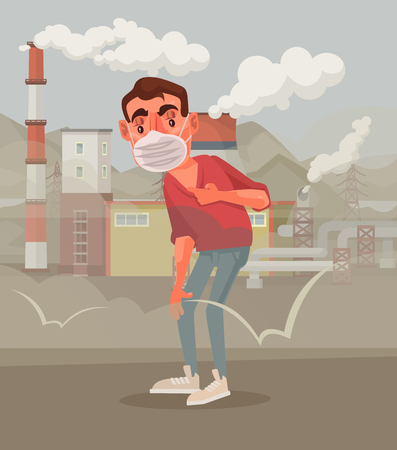 El hombre en la máscara protectora. Aire contaminado. Vector ilustración de dibujos animados plana Foto de archivo - 74639081