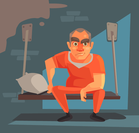 Prisoner man character in prison. Vector flat cartoon illustration