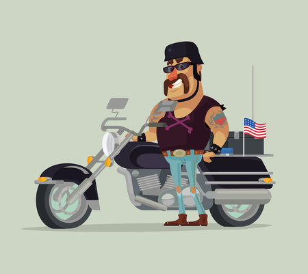 Fat old happy smiling man biker character standing near motorbike. Vector flat cartoon illustration