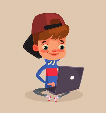 Gelukkige het glimlachen weinig jongenskarakterzitting op vloer en het gebruiken van laptop. Vector platte cartoon afbeelding