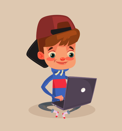 Happy smiling little boy character sitting on floor and using laptop. Vector flat cartoon illustration