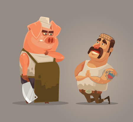 Revolt of farm animals. Angry pig trying protect itself. Piggy and butcher characters is reversed. Vector flat cartoon illustration