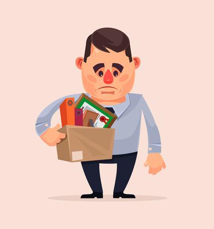 Sad ongelukkig kantoorpersoon karakter ontslagen van baan. Vector platte cartoon illustratie