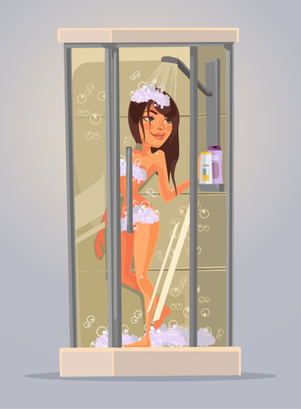 Happy young woman take a shower. Vector flat cartoon illustration 向量圖像
