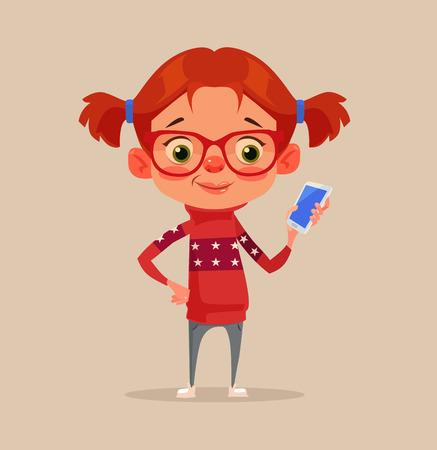 Happy smiling little girl child teen character using smartphone. Vector flat cartoon illustration Illustration
