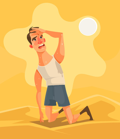 Hot weather and summer day. Tired unhappy man character in desert. Vector flat cartoon illustration Vettoriali