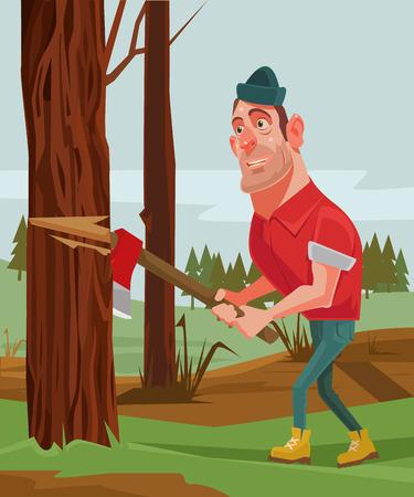 Lumberjack man character chopping wood. Vector flat cartoon illustration