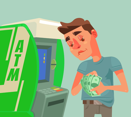 Man character receive and count money near ATM. Vector flat cartoon illustration