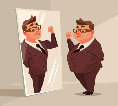 Fat man office worker character pretend to be strong man in mirror. Vector flat cartoon illustration