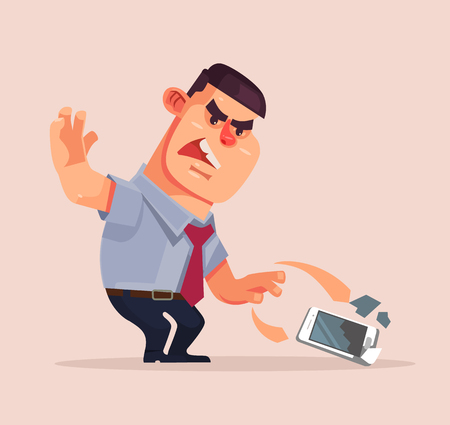 Angry unhappy businessman character throwing mobile phone and smash it. Vector flat cartoon illustration Stok Fotoğraf - 75020247