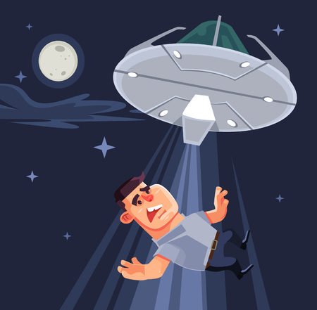 abduct: UFO tries to abduct man characters. Vector flat cartoon illustration