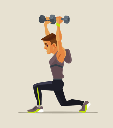 Strong sport man character doing lifting exercises. Vector flat cartoon illustration
