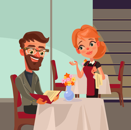 Office worker man character doing order and talks to woman waiter. Vector flat cartoon illustration