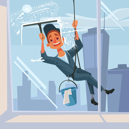 Happy smiling washer employee man character wash the window. Vector flat cartoon illustration Illustration