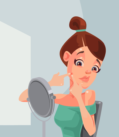 Woman character squeezing and removing pimple acne. Vector flat cartoon illustration Illustration