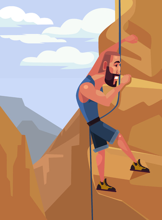 clamber: Happy smiling man character climbing on the rock. Extreme sport. Vector flat cartoon illustration