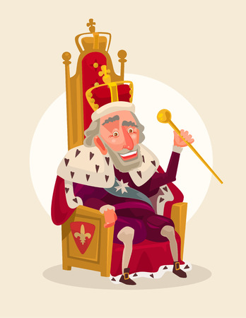 govern: Smiling king character sits on the throne. Illustration