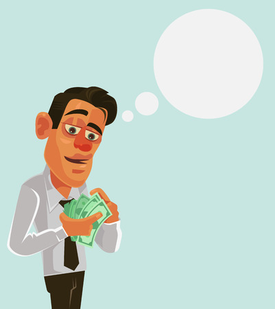 money packs: Businessman office worker man character counting salary money. Vector flat cartoon illustration