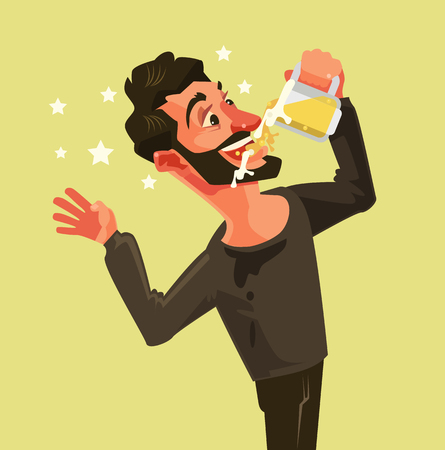 Happy man character drinks beer with mouth wide open. Vector flat cartoon illustration