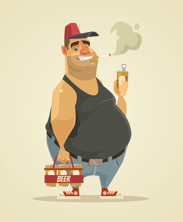 Smiling man smoking cigarette and drinking beer. Illustration