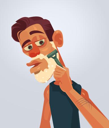stubble: Man character shaving face. Illustration