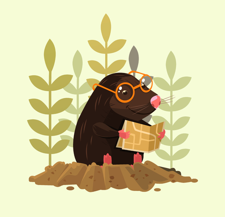 Cute smiling mole character sitting and reading map.
