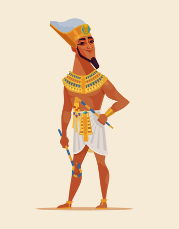Happy smiling young Egyptian Pharaoh dressed golden clothes. Vector flat cartoon illustration
