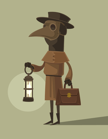Plague doctor character mascot in crow mask hold lamp. Vector flat cartoon illustration Illustration