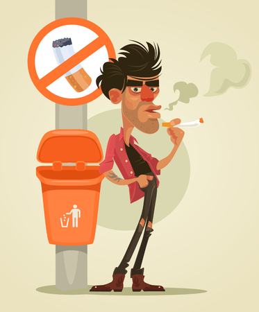 Bad man character smoking under sign no smoke.