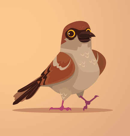 Happy smiling cute sparrow character mascot. Vector flat cartoon illustration